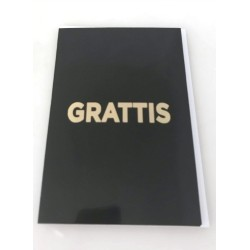 Congratulations card 4-pack with envelope Black with golden text 13x19 cm