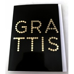 Congratulations card with envelope Black with gold dotted text