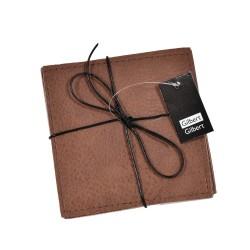 Glasunderlägg grå/brun läderlook 4-pack